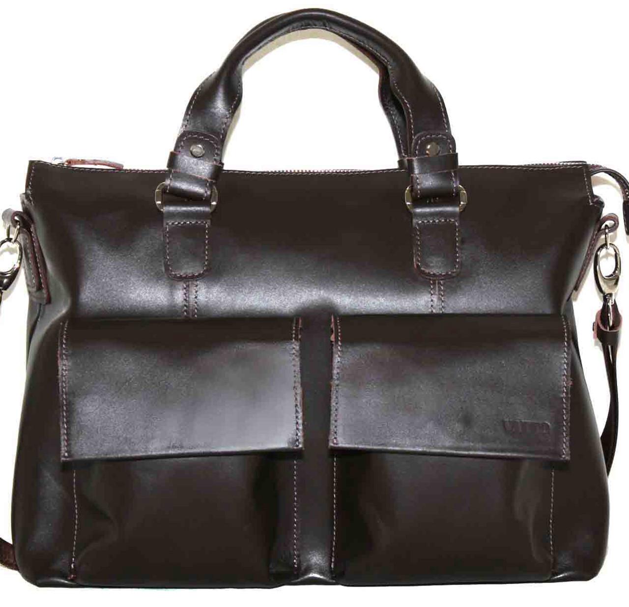 Кожаный мужской портфель Mk25 коричневый шоколад