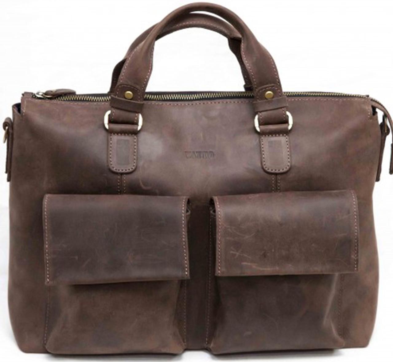 Кожаный мужской портфель Mk25 коричневый матовый