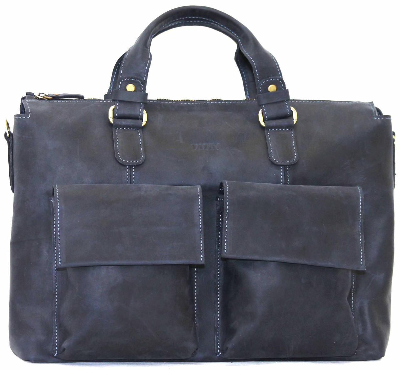 Кожаный мужской портфель Mk25 синий матовый