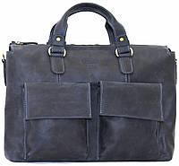 Кожаная мужская сумка Mk25 синяя матовая