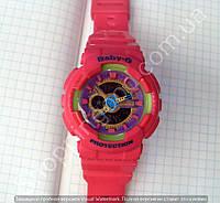 Детские часы Casio Baby G BA-111 5338 (114320) розовые с фиолетовым темный циферблат водонепроницаемые