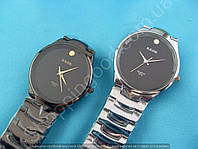Часы Kede 3219 114321 серебристые на черном циферблате мужские круглые темная сталь диаметр 3,5 мм
