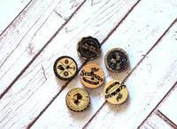 """Пуговки круглые деревянные """"Морские"""", в упаковке 10 шт., 1,5 см, 2 отверстия, ассорти"""