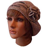 Женская вязаная зимняя шапка - трансформер с цветком