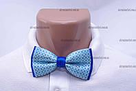 """Бабочка мужская, классик голубая с синим металлическая застежка """"Remen"""" LM-638"""