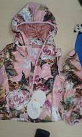 Куртка-жилетка демисезонная для девочки (акварель бордо), фото 1