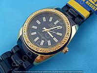 Часы Q&Q GQ13J002Y женские черные с золотом в стразах пластиковый браслет водозащитные 3 Bar диаметр 35 мм