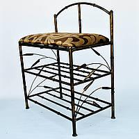 """Полка обувная в стиле """"бамбук"""" с мягким сиденьем  и спинкой"""