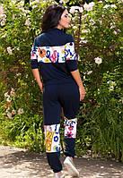 Женские спортивно прогулочный трикотажный костюм синего цвета с цветами
