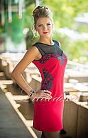 Нарядное красное Платье с прозрачной кокеткой