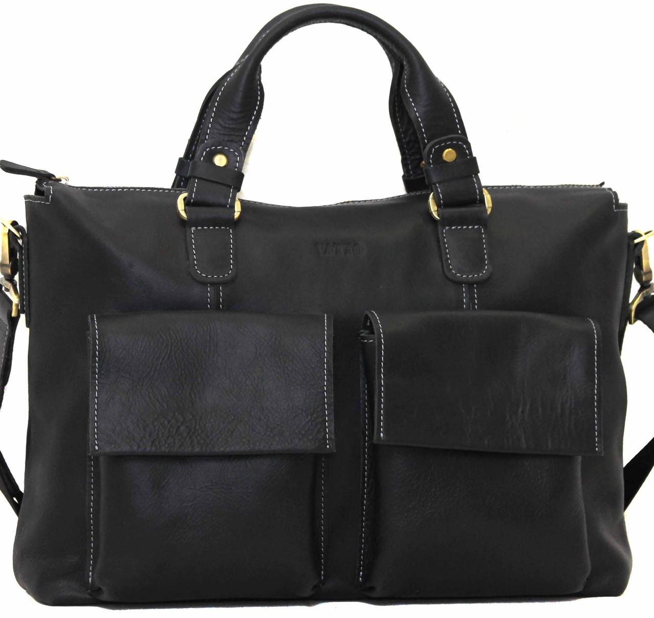 Шкіряний чоловічий портфель Mk25 чорний матовий