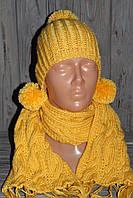 Вязаный детский комплект шапка шарф