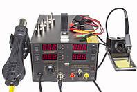 Паяльная станция 4 в1 HandsKit 909D + паяльник + фен + тестер + источник питания + USB + 4 дисплея