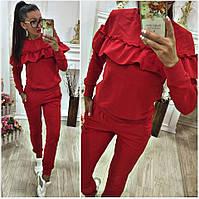 Женский спортивный костюм с воланом ткань турецкий трикотаж двухнитка цвет  красный ed5f7c028ec