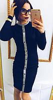 Женское модное теплое платье с пуговицами
