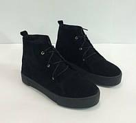 Женские ботинки криперы, демисезонные из натуральной замши