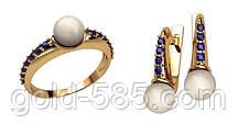 809766d834fe Восхитительный жемчужный золотой ювелирный комплект 585  пробы с Фианитами