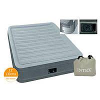 Велюровая надувная кровать 67766 INTEX со встроенным электрическим насосом