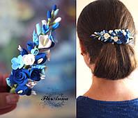 """""""Море цвета"""" заколка для волос с цветами из полимерной глины"""