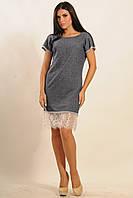 Модное прямое платье из двунитки с кружевом по низу 42-52 размера, фото 1