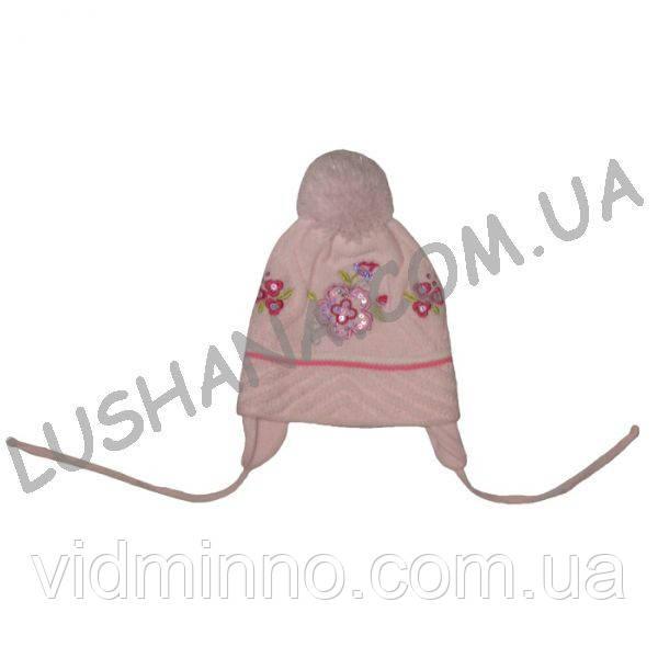 Вязанная шапочка Цветок на 1-3 года