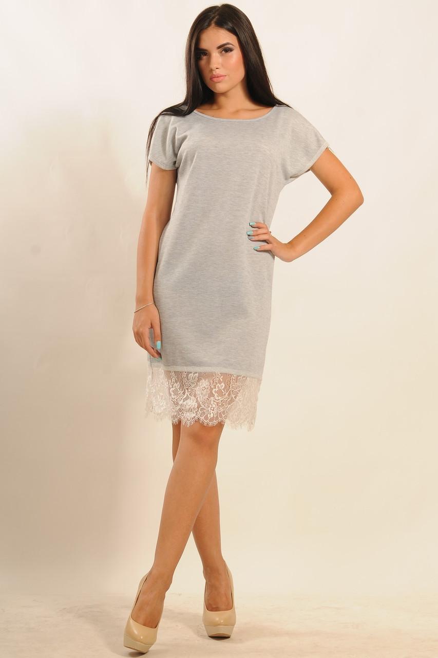 2ed8c968de6 Модное прямое платье из двунитки с кружевом по низу 42-52 размера - 💎TM