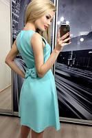 Платье с юбкой  клешь и бантиком на спинке желтый, 42