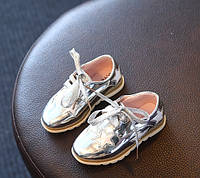 Туфли для девочек серебристые