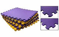 Коврик-мат пазл набор 2шт 48,5x48,5x1см Пенополиэтилен UR C-5067 (площадь 1уп.-0,47м2, фиол-жел)