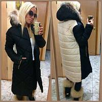 Комбинированная длинная женская куртка с мехом енот