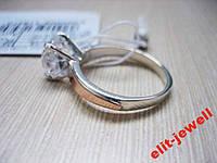 Серебряное кольцо с золотом и камнем - 16 размер, фото 1