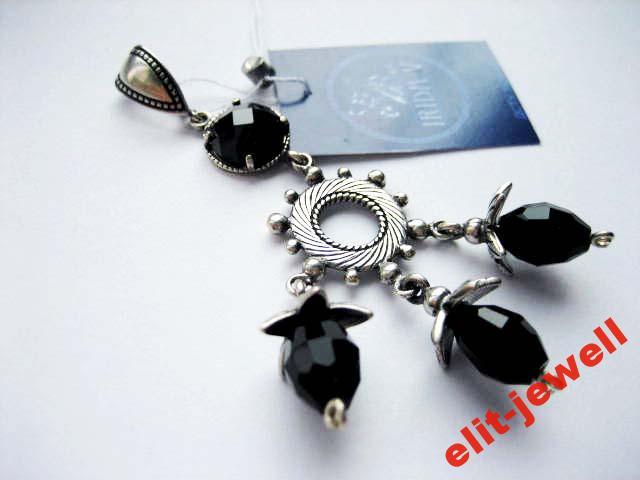 Серебряный красивый подвес с черными камнями