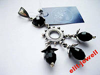 Серебряный красивый подвес с черными камнями, фото 1