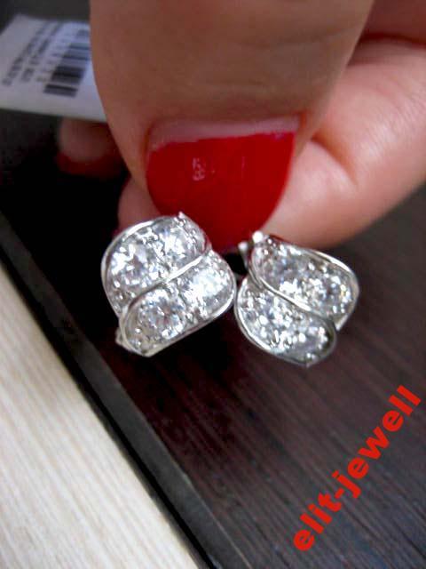 Родированые изящные серебряные серьги