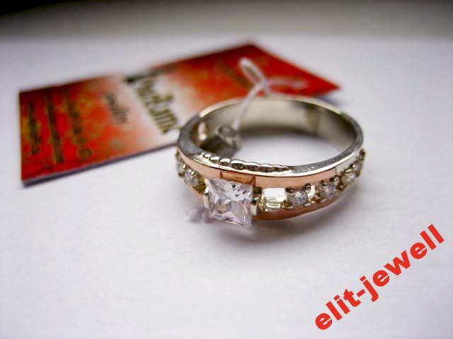Кольцо - серебро с золотом - 16,5 реальное фото