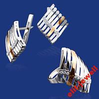 Серебряный набор с золотом Энигма - 18 р. кольца, фото 1