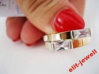 Женское кольцо с золотыми вставками - 18,5 размер