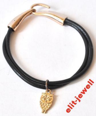 Черный браслет с совой