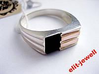 Мужская печатка - серебро и золото , фото 1