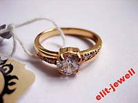 Серебряное кольцо с позолотой 17,5 размер, фото 1
