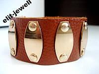 Кожаный браслет с металлическими пластинками
