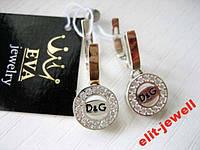 Серьги Дольче - серебро и золото - в коробочке