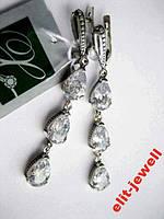 Длинные серебряные серьги с цирконием