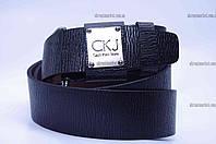 """Ремень мужской кожа Calvin Klein Jeans текстурный джинс черный  """"Remen"""" LM-638"""