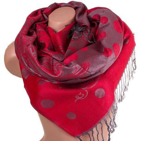 Экстравагантный женский двусторонний палантин из пашмины 183 на 70 см ETERNO ES2707-6-8 красный