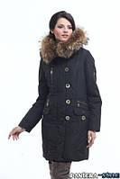 Удлиненная женская куртка парка с мехом енот