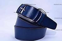 """Ремень мужской кожа  гладкий джинс синий  """"Remen"""" LM-638"""