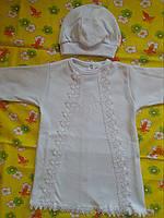 Крестильный комплект белый - рубашка и шапочка для крещения