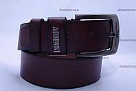 """Ремень мужской кожа  Giorgio Armani гладкий джинс коричневый  """"Remen"""" LM-638"""