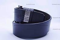 """Ремень мужской кожа  Calvin Klein гладкий джинс синийи  """"Remen"""" LM-638"""